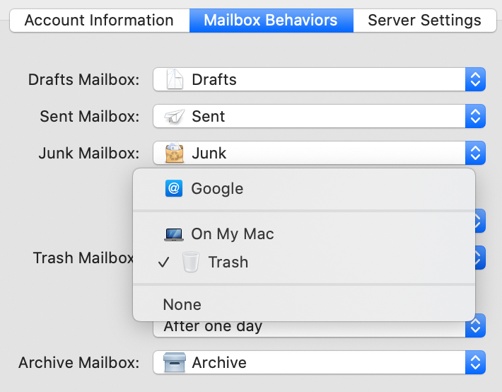 Apple Mail Mailboxes Behaviors Settings Pane
